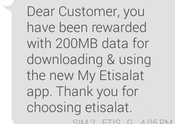 Gift from Etisalat: How to Get Etisalat Free 200MB Without
