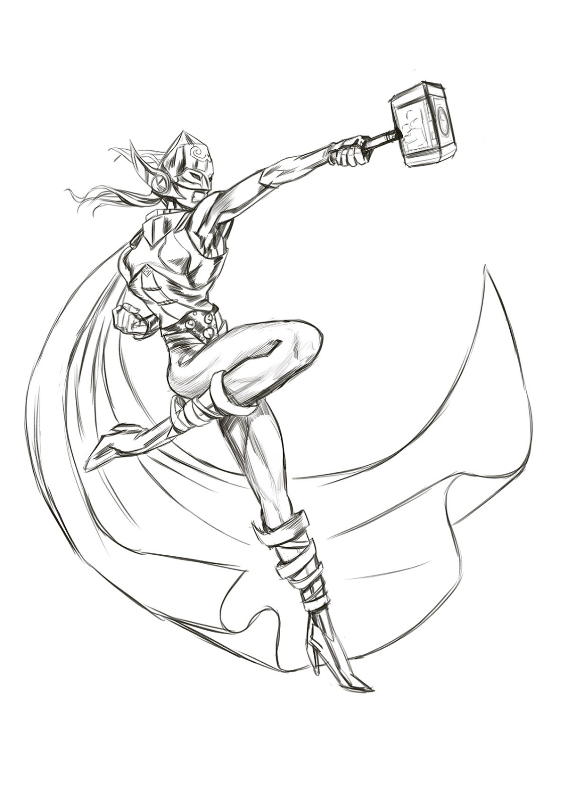 Let's Storyboard: Marvel's New She Thor Sketch 2