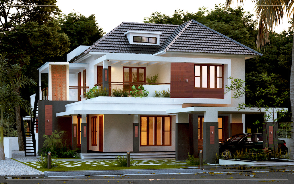 2300 sq ft 4 bed room residence traditional styled modern veedu