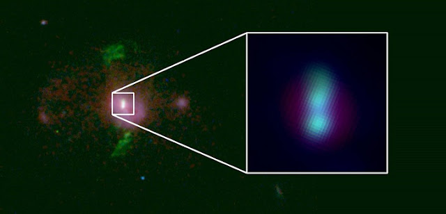 "Titanic Twosome: A Princeton-led team of astrophysicists has spotted a pair of supermassive black holes, roughly 2.5 billion light-years away, that are on a collision course (inset). The duo can be used to estimate how many detectable supermassive black hole mergers are in the present-day universe and to predict when the historic first detection of the background ""hum"" of gravitational waves will be made.  Image courtesy of Andy Goulding et al./Astrophysical Journal Letters 2019"