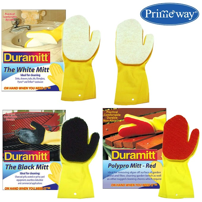 Rs,199/- Primeway® Duramitt Black Durable Heavy Grade, Red Polypropylene and White Scour Scrub Sponge Cleaning Mitts Gloves, Right Hand, Pack of 4