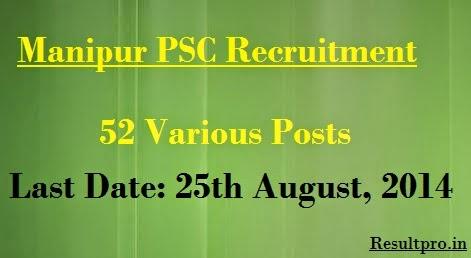 Manipur PSC Recruitment 2014