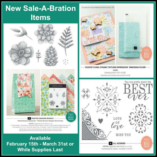 Free, Sale-A-Bration, All Adorned, Country Floral Embossing Folder, Painted Season Bundle