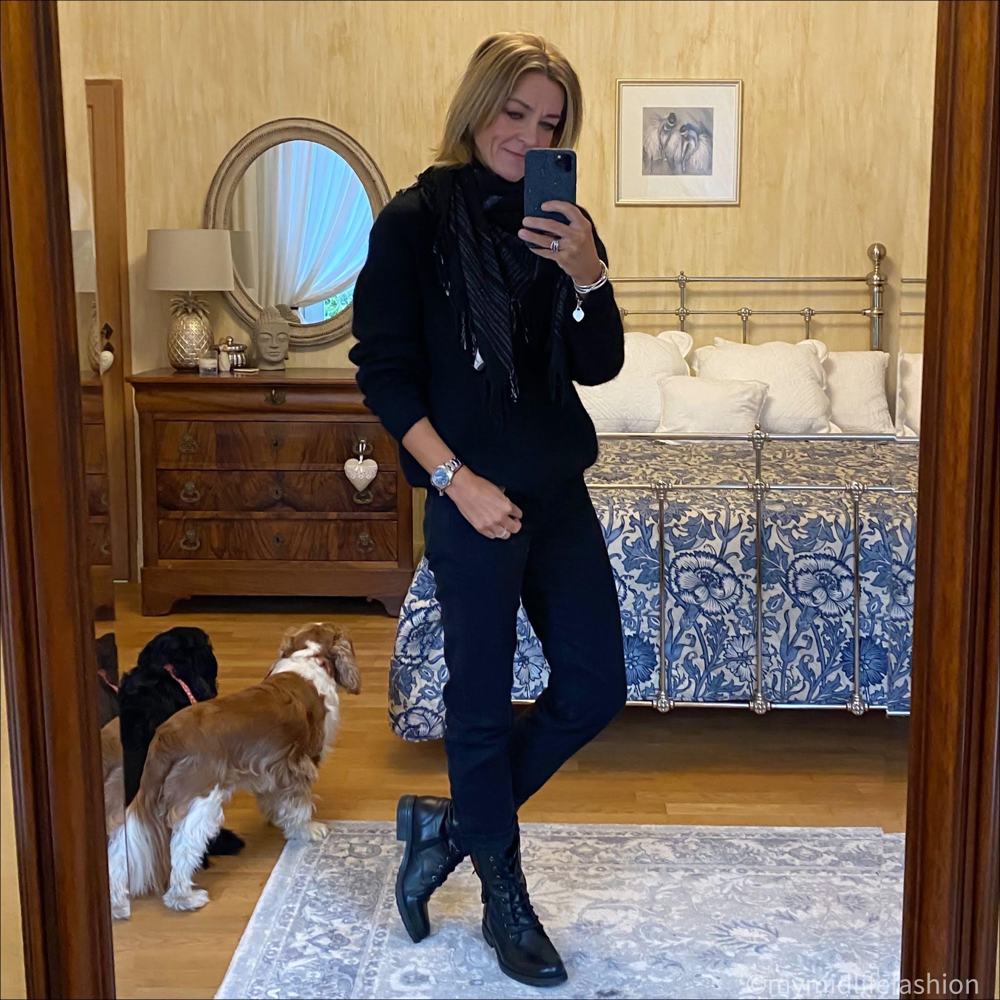 my midlife fashion, Carl Scarpa paulette  blank  ankle boots, Isabel Marant scarf, acne studios crew neck jumper, baukjen boyfriend jeans