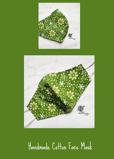 Handmade Cotton Face Mask Green Floral Made in USA
