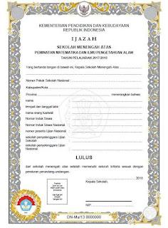Blangko Ijazah SMA 2018 Kurikulum 2013, Jurusan IPA