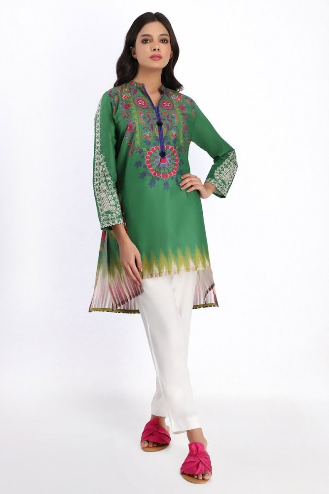 khaadi embroidered green kurtas