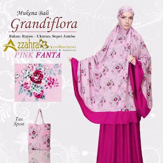 Motif Mukena Bali Super Jumbo Grandiflora Pink Fanta
