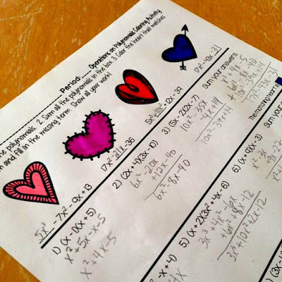 Valentine's Day math coloring activity for polynomials in Algebra or Algebra 2