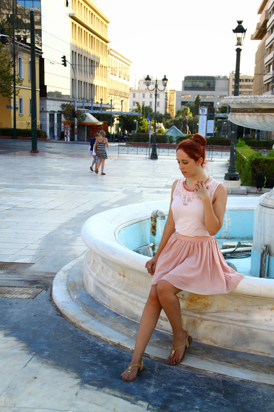 Redhead, spotlights on the redhead, Anna Keni, outfit, oasap, bershka, style b4 fashion, ,fashion,model,blogger, jewelry,  review, beige, spring, 2014, pink,magenta,summer, autumn