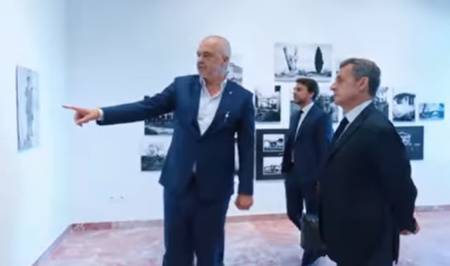 Nicolas Sarkozy visits Edi Rama in his office