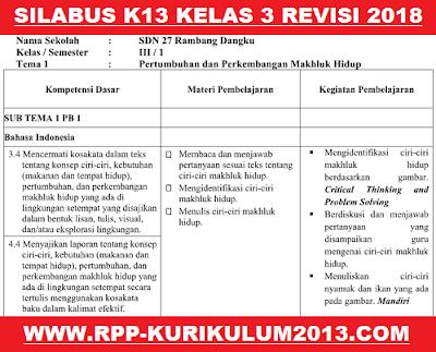 gambar Silabus k13 Kelas 3 Revisi 2018
