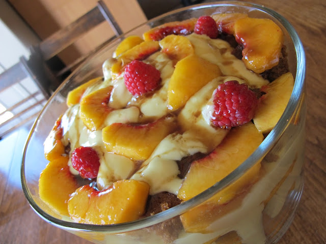 Healthy Raspberry Peach Trifle