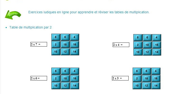Multiplication logiciel educatif table de multiplication - Application pour apprendre les tables de multiplication ...