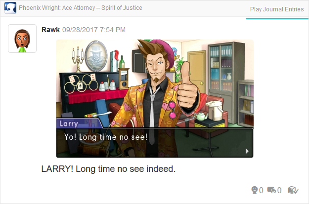 Phoenix Wright Ace Attorney Spirit of Justice Larry Butz long time