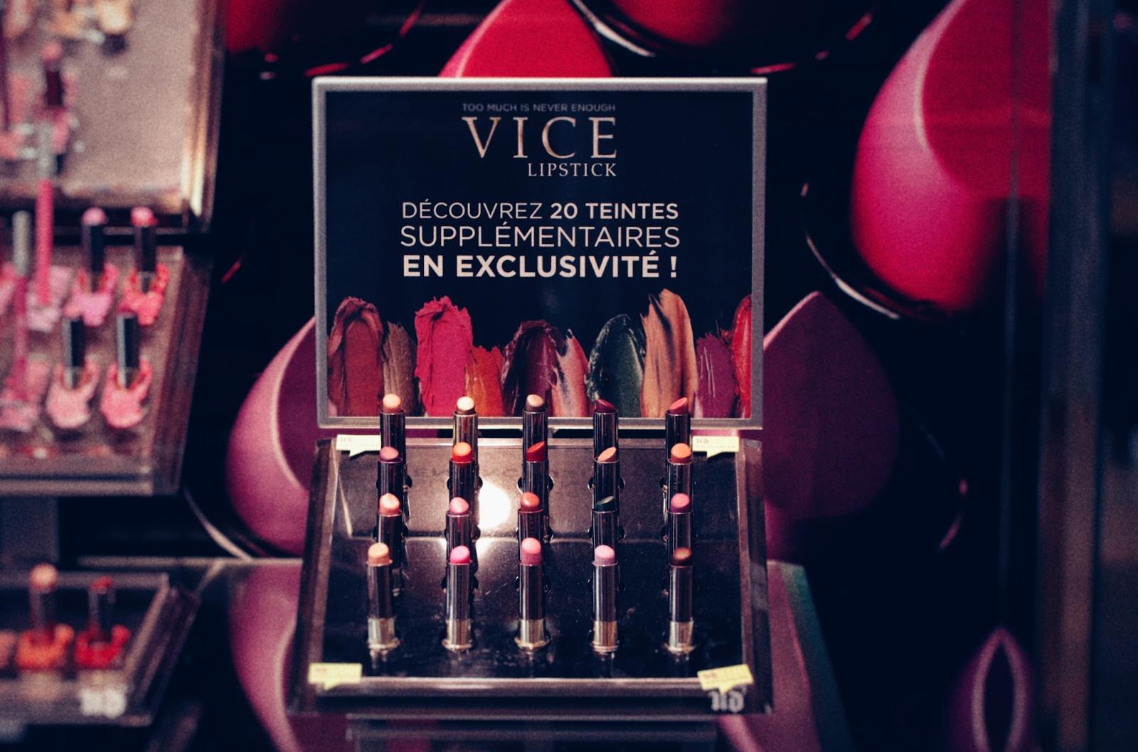 urban decay ud vice lipstick nouvelles couleurs exclusives boutiques paris avis swatches