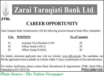 ZTBL Jobs December 2020 Apply Online for Latest Zarai Taraqiati Bank Limited December 2020