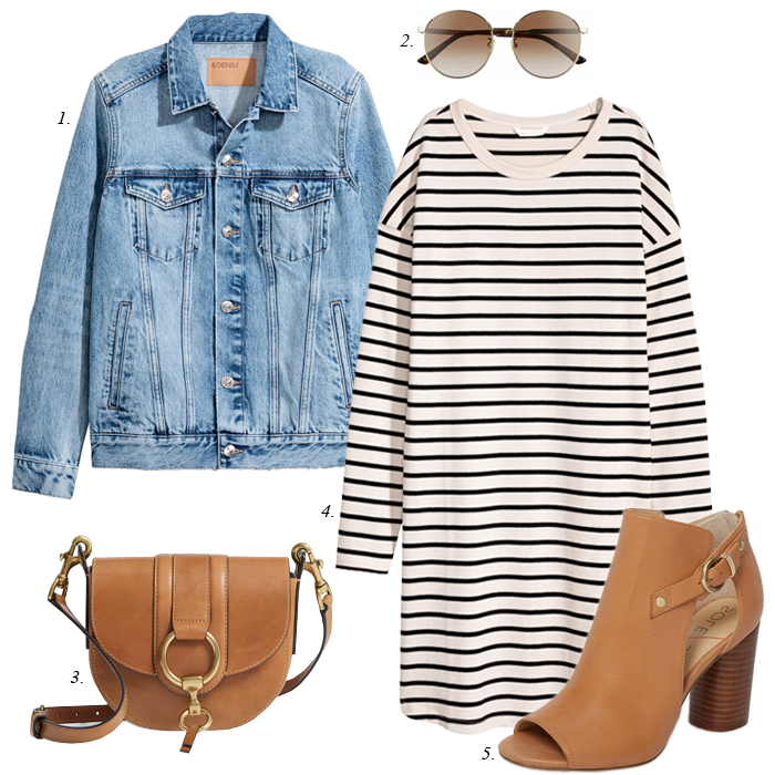 cognac sandals, striped tee dress, denim jacket, spring outfit