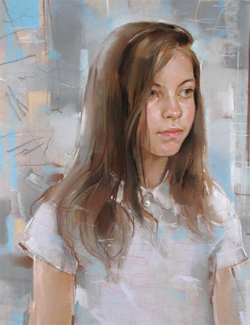 детский портрет, портрет пастелью девочки