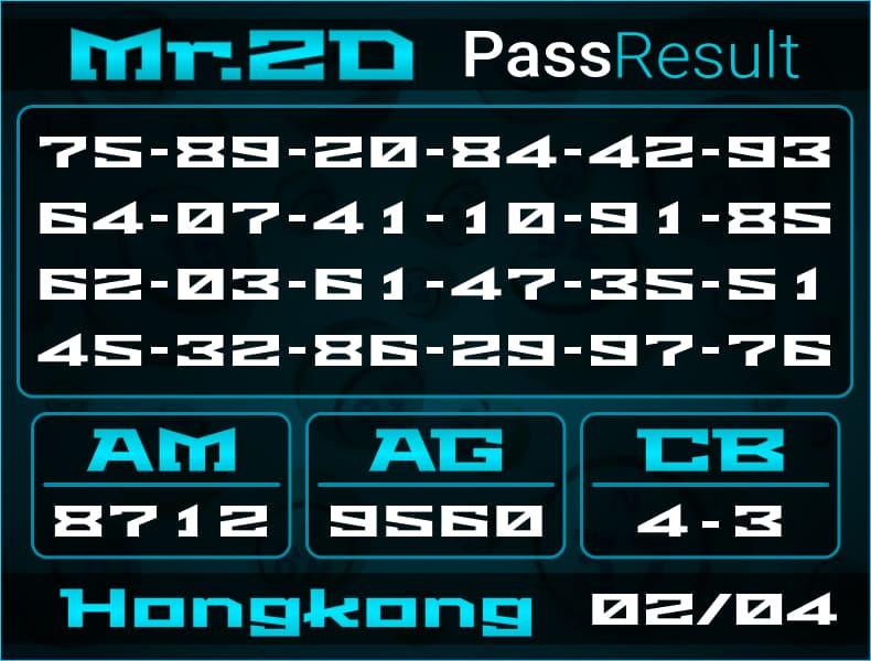 Prediksi Mr.2D | PassResult - Selasa, 2 April 2021 - Prediksi Togel Hongkong