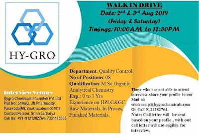 HY-GRO Chemicals - Walk-in interview for Quality Control on 4th August, 2019