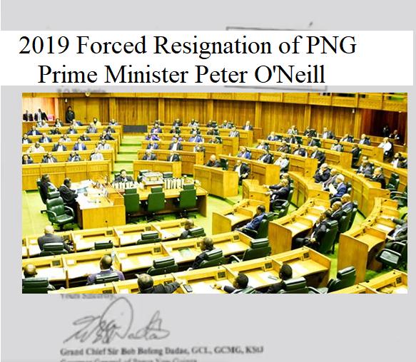 Resignation og PNG Prime Minister 2019