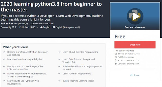 [100% Free] 2020 learning python3.8 from beginner to the master