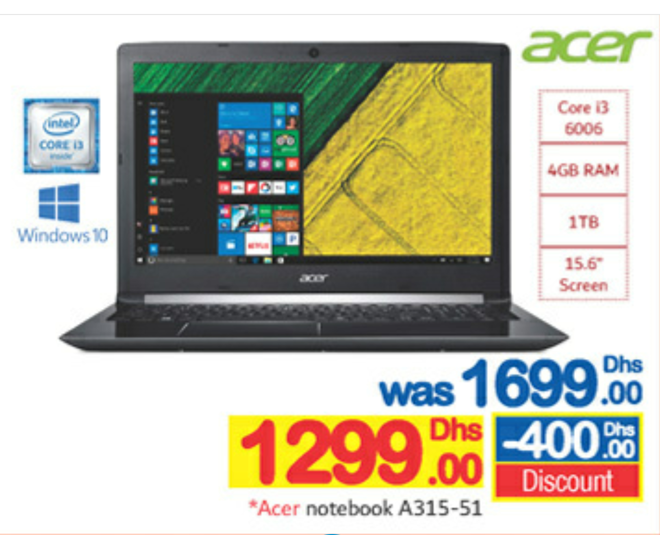 Acer Laptop @ AED1299 00 - Offers in Dubai