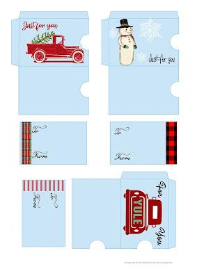 diy christmas printable digital gift card holders sleeves
