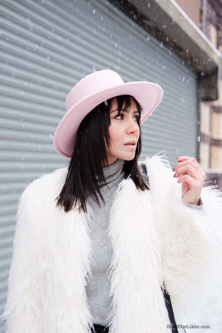 faux fur, white faux fur, white boots, pink wool hat, new york, new york fashion week, snow, fashion blogger, top fashion blogger, best fashion blogger, bangs, los angeles fashion blogger