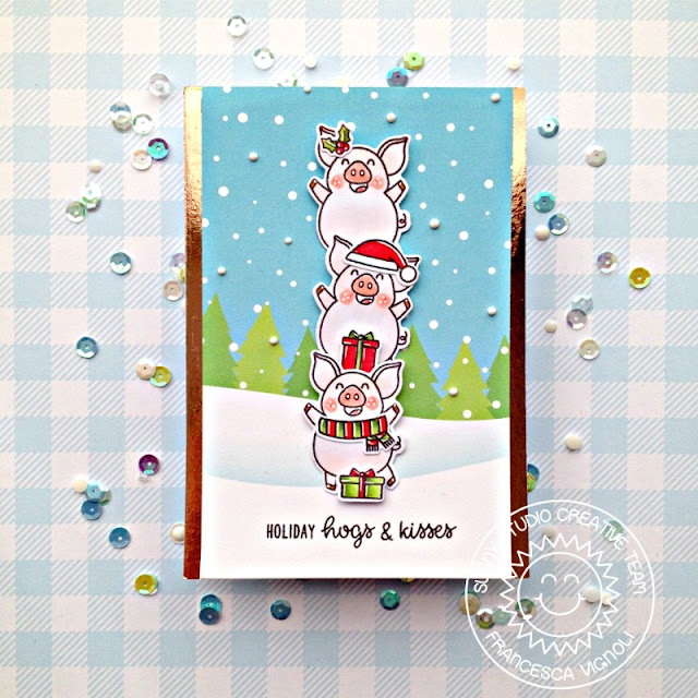 Sunny Studio Stamps: Hogs & Kisses Frilly Frame Dies Merry Mice Dies Santa Claus Lane Winter Themed Holiday Card by Franci Vignoli