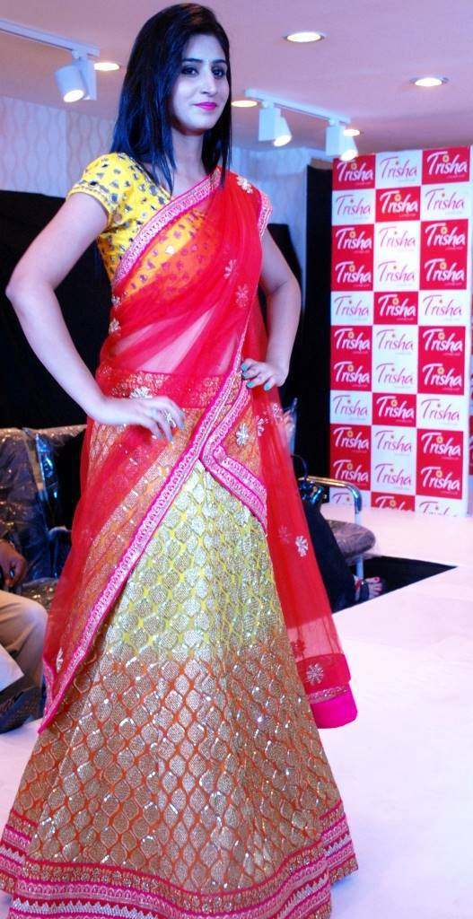 Model Shamili In Traditional Red Saree At Fashion Show