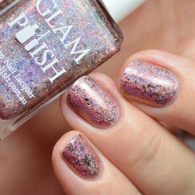 burnt orange holographic nail polish