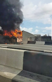 Photos BRT Bus Engulfed by Fire Around Adeniji Bus-Stop, Lagos