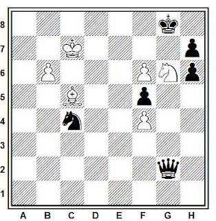 Estudio artístico de ajedrez compuesto por M. Vukcevich (7º premio, 4º WCCT 1989-1992)