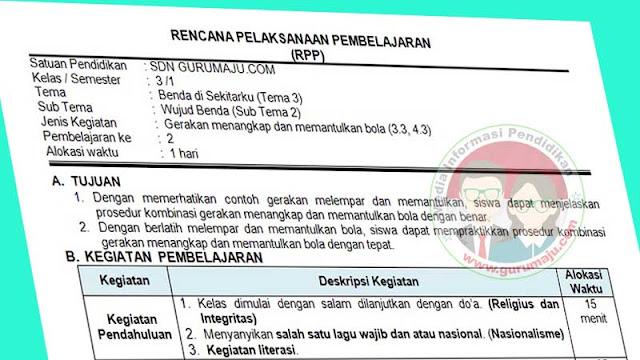 RPP PJOK 1 Lember Semester 1 Kelas 3 Tema 3