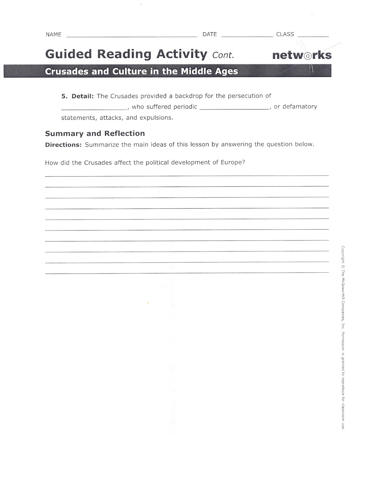 The Middle Ages Worksheet Answers