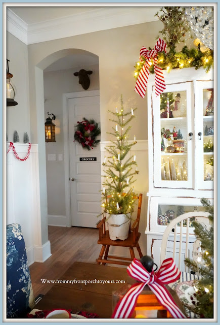 Cottage -Farmhouse- Christmas- Dining -Room-Small-Christmas-Tree-Vintage-High-Chair-Enamel-Bucket--From My Front Porch To Yours