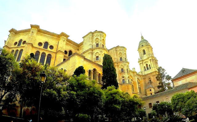 Amazing view of the Cathedral of Malaga from Cister street