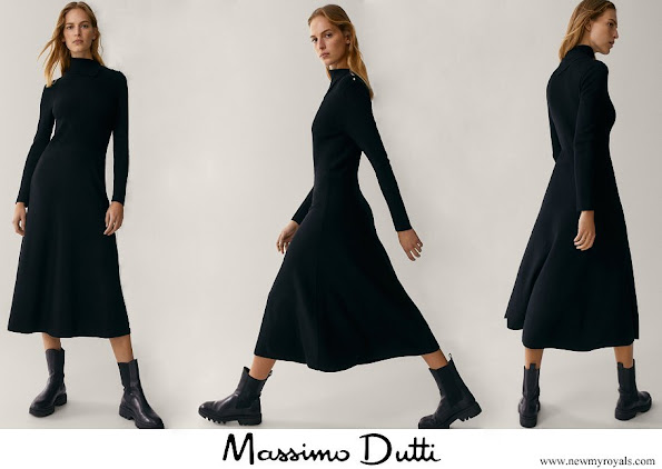 Queen Maxima wore Massimo Dutti Dress with button detail