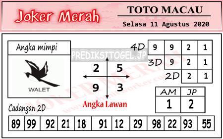 Prediksi Joker Merah Toto Macau Selasa 11 Agustus 2020