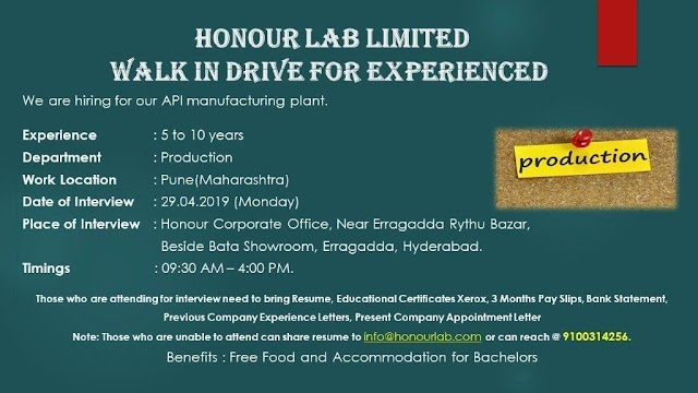 Honour Lab Limited - Walk-In Drive - on 29th Apr' 2019