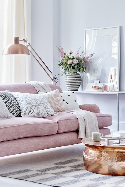 A pretty in pink living room by house beautiful { Cool Chic Style Fashion}