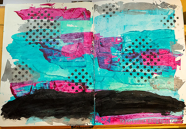 Layers of ink - 2020 art journal page tutorial by Anna-Karin Evaldsson. Paint background with acrylic paint.