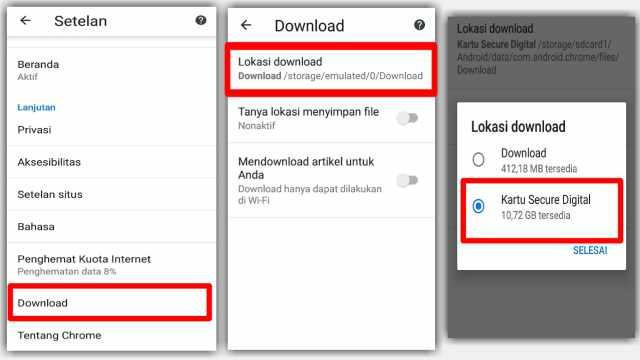 Cara Mengubah Lokasi Download Chrome Hp android
