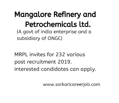 MRPL Invites for 232 various post latest government job vacancies.