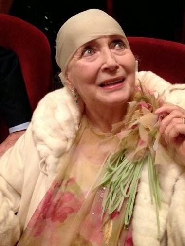 Valentina Cortese at La Scala theatre wearing Gianfranco Ferrè for Chrisitan Dior haute couture dress
