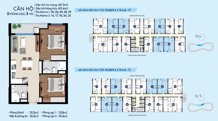 Mặt bằng căn 2PN-2WC-65m2 toà The Marina tầng 6-11 căn hộ River City