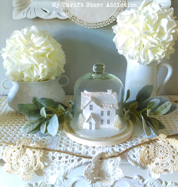 winter white French farmhouse mantel