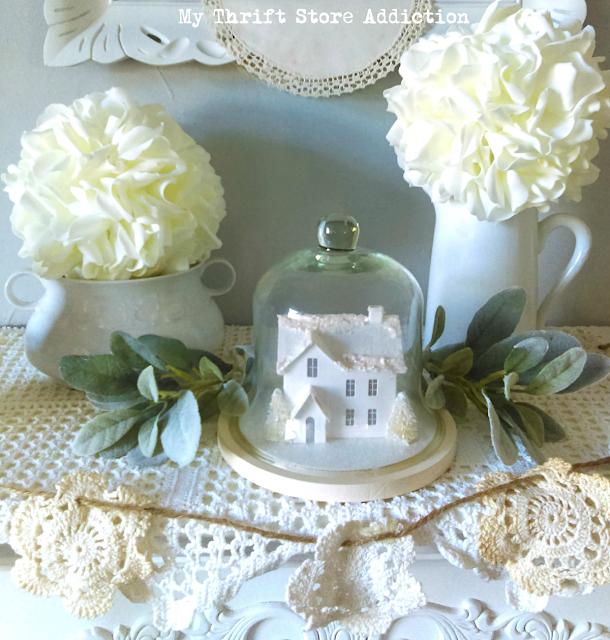 winter white French farmhouse mantel